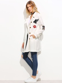 White Lapel Single Breasted Belted Badge Coat