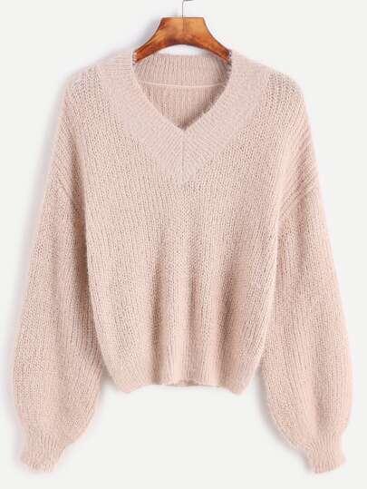 Pink V Neck Drop Shoulder Fuzzy Sweater