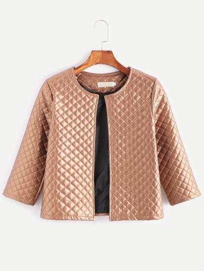 Coffee Grid Grain Faux Leather Coat