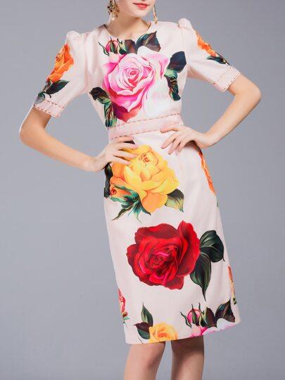 Apricot Flowers Print Sheath Dress