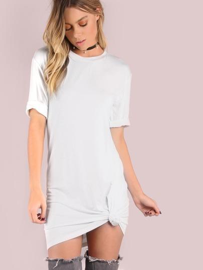 White Crushed Tee Dress