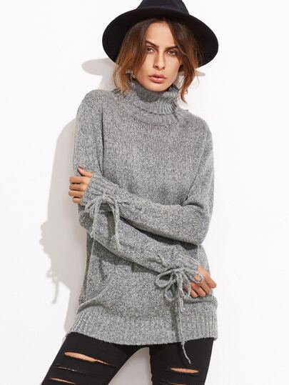 Grey Marled Knit Turtleneck Tied Cuff Sweater