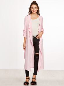 Pink Waterfall Collar Roll Sleeve Wrap Coat