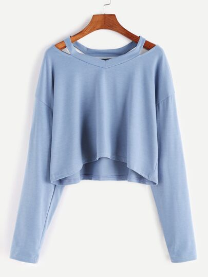 Blue Cut Out Neck Crop T-shirt