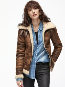 Brown Double Buckle Strap Collar Faux Shearling Jacket