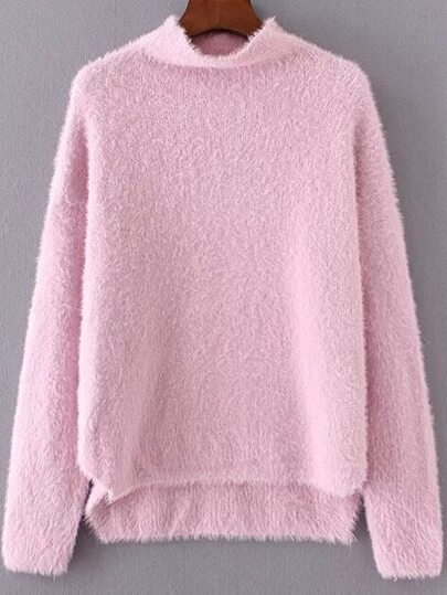 Pink Mock Neck Dip Hem Sweater