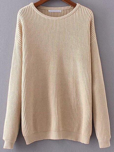 Khaki Ribbed Drop Shoulder Sweater sweater161101218