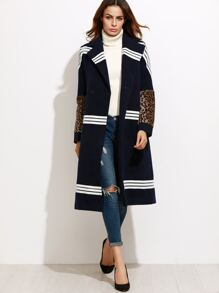 Navy Striped Leopard Sleeve Coat