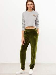 Olive Green Elastic Waist Velvet Sweatpants