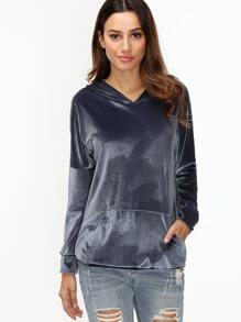 Sweat-shirt velours à capuche à l'épaule laissé -marine