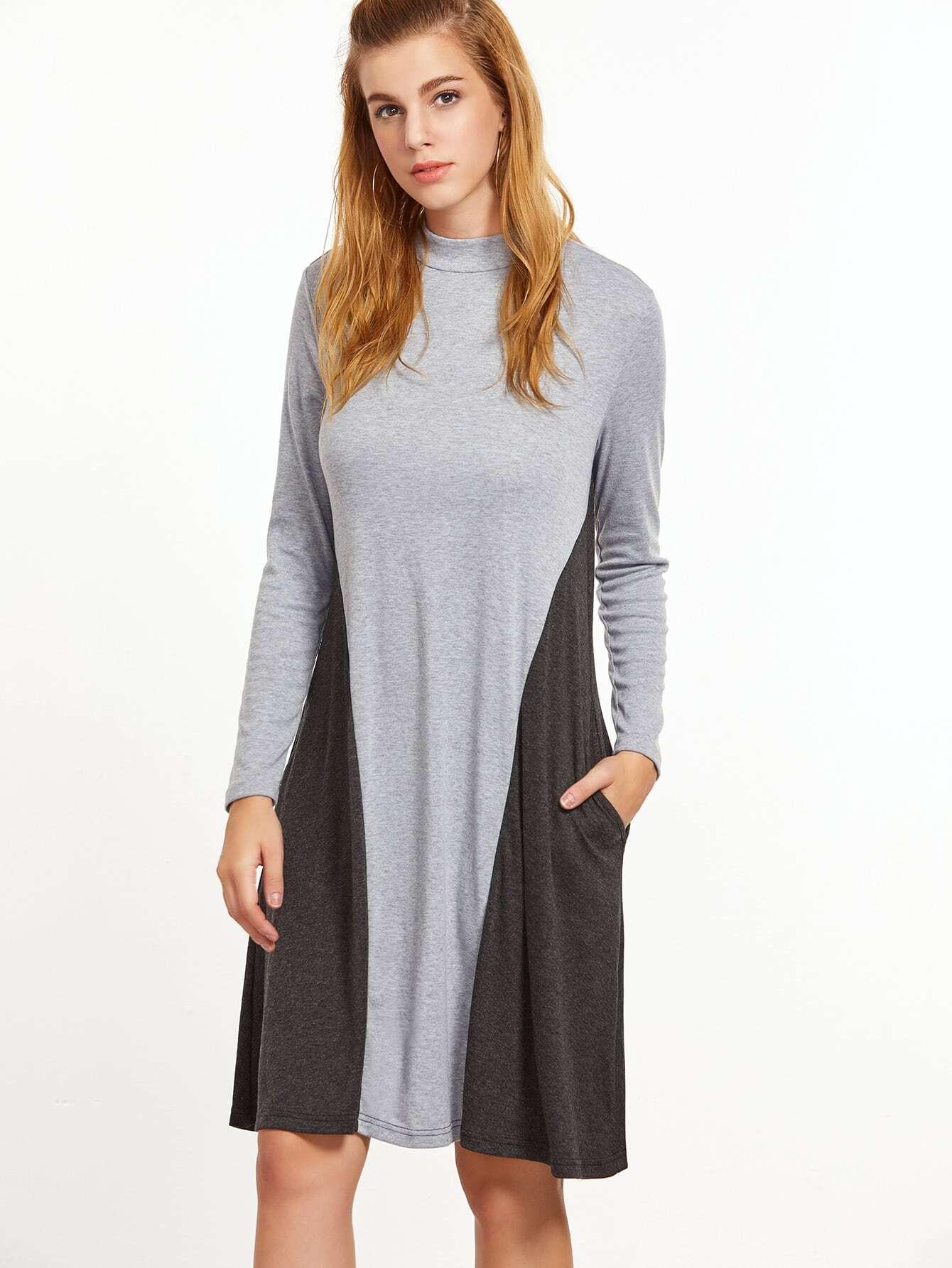 Фото Contrast Heathered Mock Neck Tee Dress. Купить с доставкой