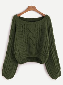 Army Green Raglan Sleeve Cable Knit Sweater