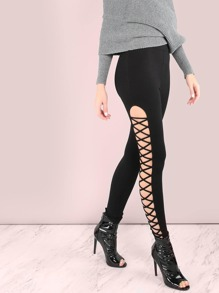 Open Cross Strap Leggings BLACK
