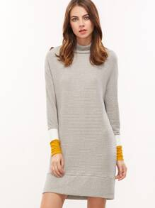 Grey Ribbed Knit Drop Shoulder Contrast Cuff Sweatshirt Dress