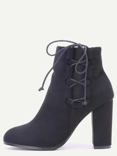 Black Faux Suede Lace Up Side Short Boots