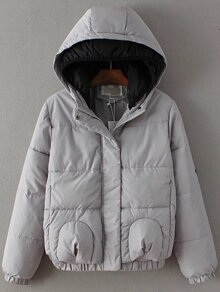 Grey Star Patch Hooded Padded Coat