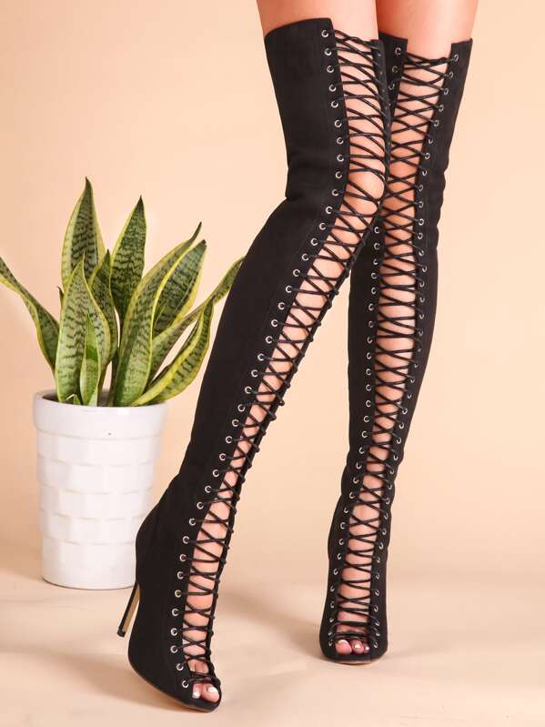 Black Sexy Criss Cross Lace Up Suede Thigh High Boots, null