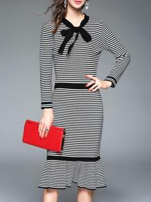Black Bowknot Striped Frill Sheath Dress