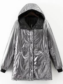 Silver Button Up Hooded Padded Coat