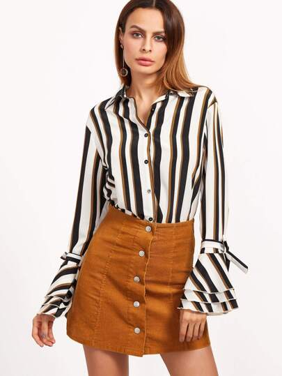 Vertical Striped Belted Bell Sleeve Blouse