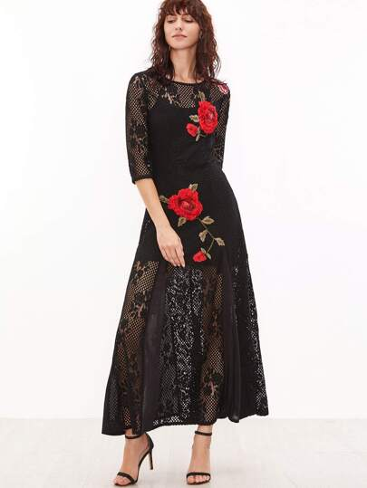 Black Embroidered Rose Applique Hollow Out Crochet Dress With Cami Top
