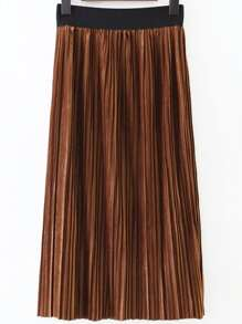 Khaki Elastic Waist Pleated Long Skirt