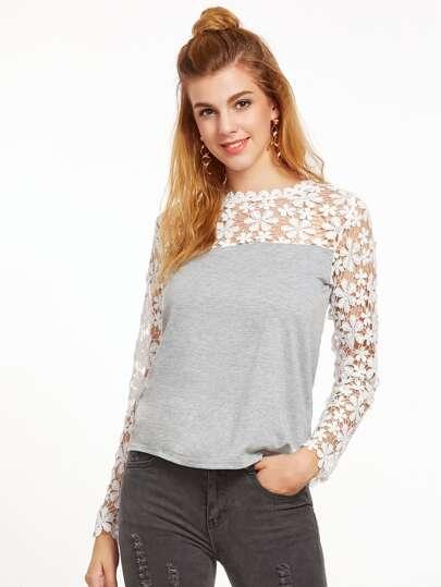 Grey Contrast Crochet Keyhole Back T-shirt