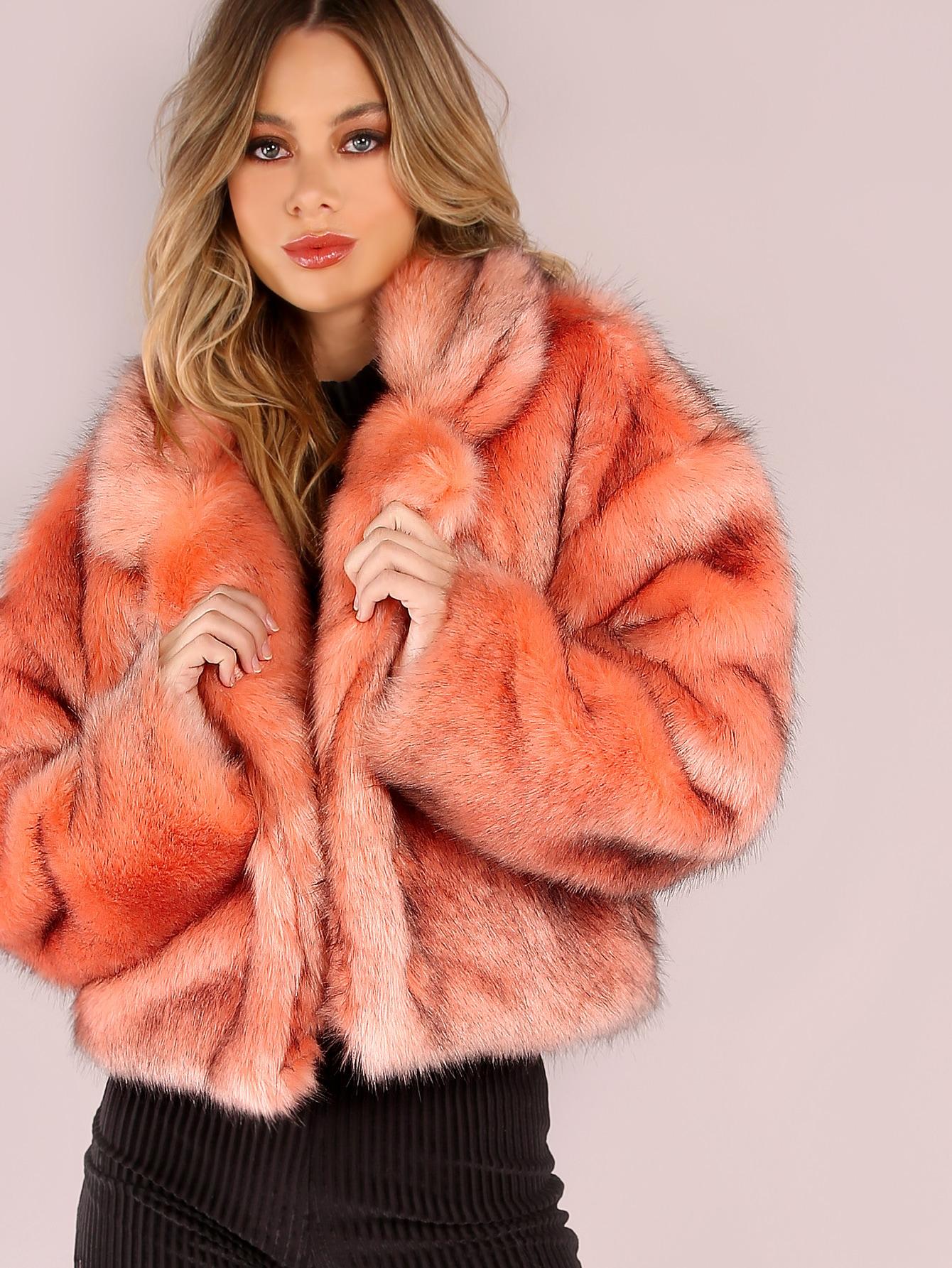 Pink Stand Collar Open Front Faux Fur Coat -SheIn(Sheinside)