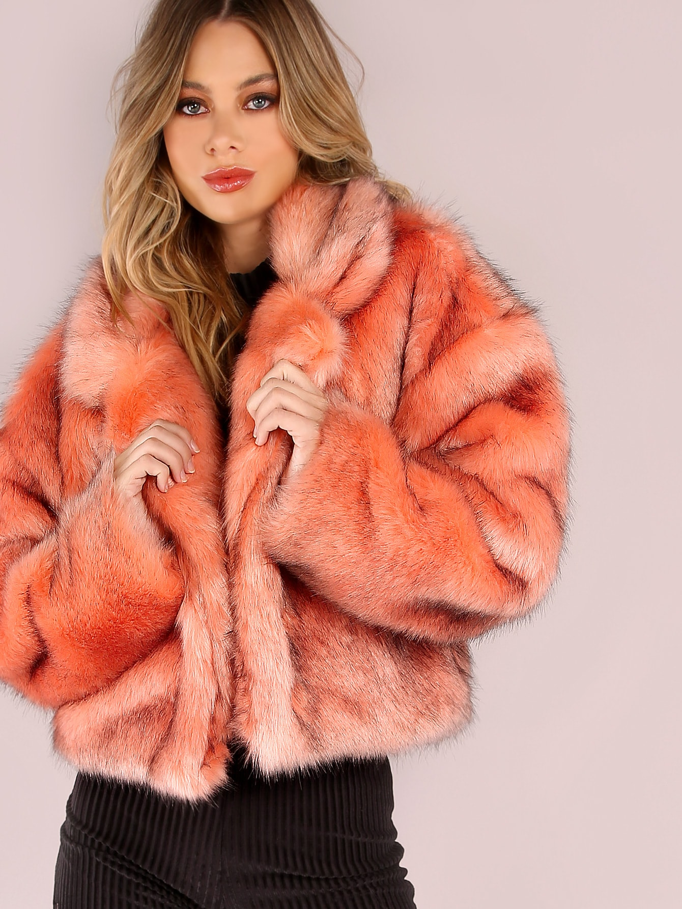 Image of Pink Stand Collar Open Front Faux Fur Coat