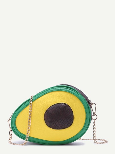 Color Block Avocado Design Snakeskin Trim Crossbody Chain Bag