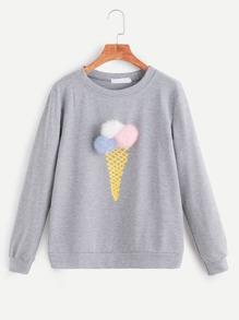 Grey Ice Cream Print Pom Pom Sweatshirt