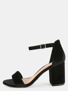 Open Toe Smooth Velvet Heels BLACK