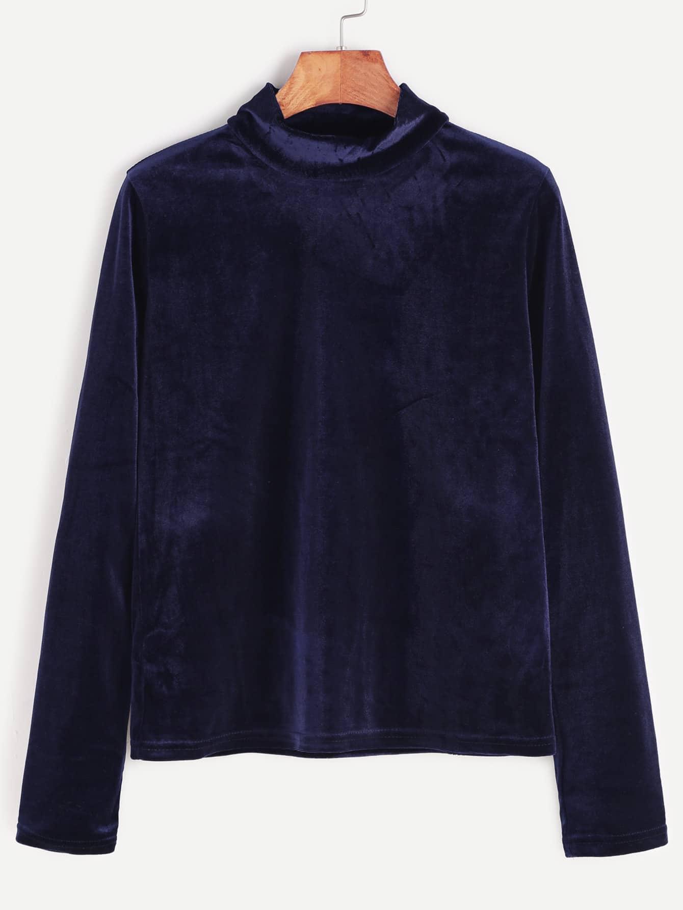 Royal blue mock neck velvet top shein sheinside for Mock crew neck shirts