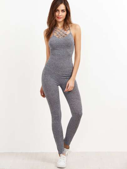Grey Marled Ribbed Knit Cage Neck Skinny Jumpsuit