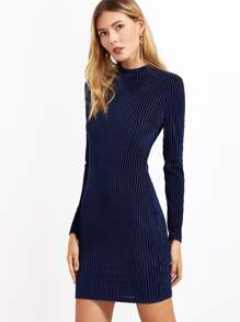 Navy Mock Neck Striped Velvet Bodycon Dress