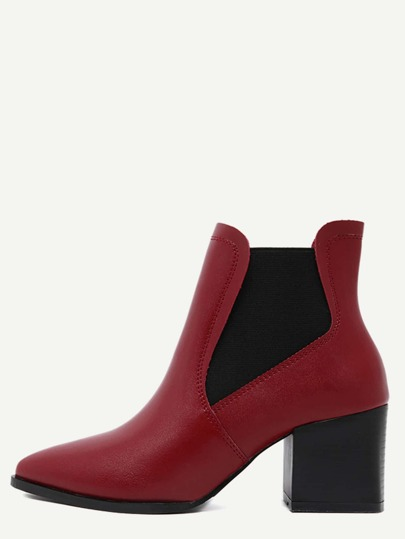 Red Point Toe Square Heel Chelsea Boots