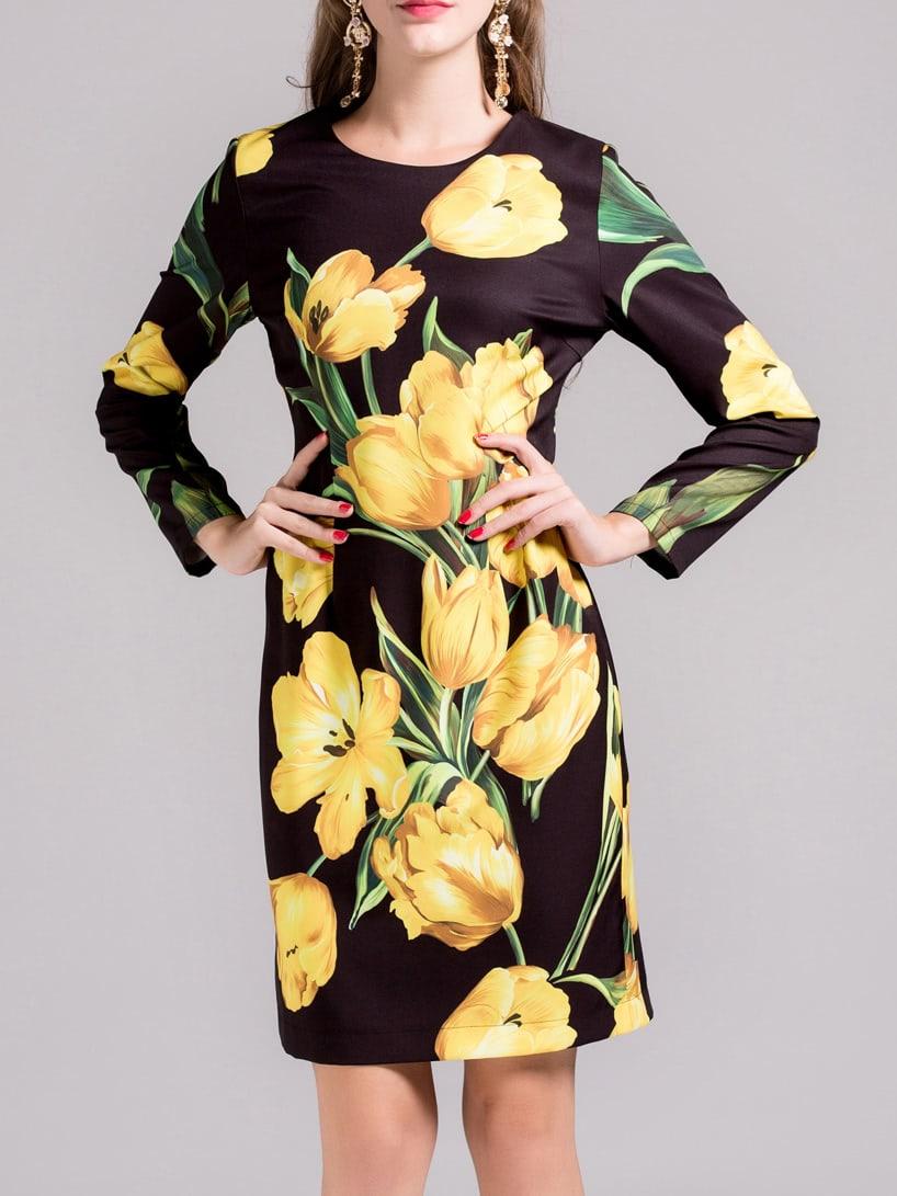 Фото Yellow Flowers Print Sheath Dress. Купить с доставкой