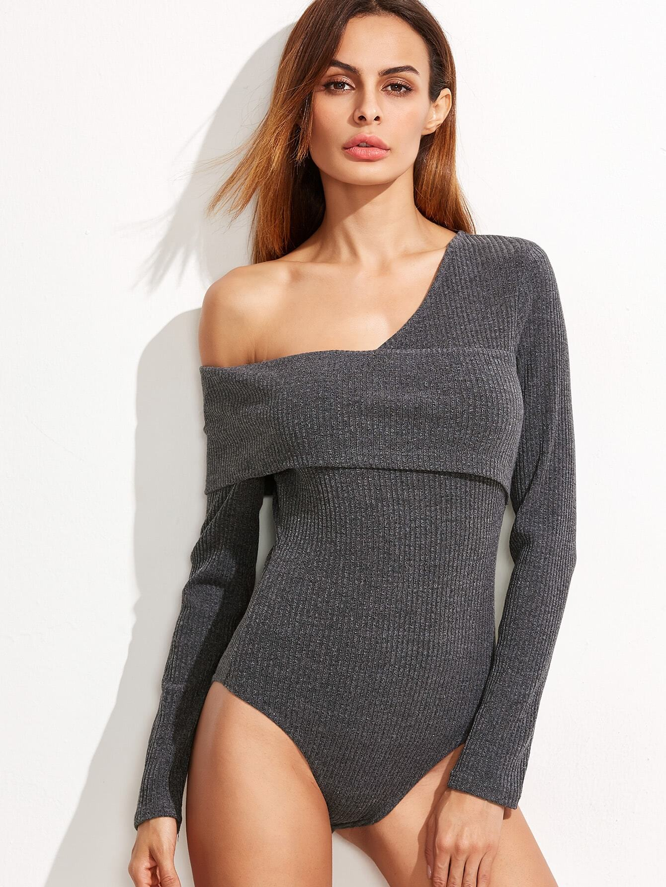 Grey Ribbed Knit Asymmetric Fold Off The Shoulder Bodysuit bodysuit161129701