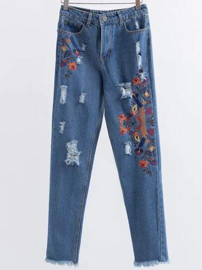 Embroidery Destroyed Fray Hem Jeans