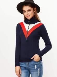 Navy Chevron Pattern Zip Turtleneck Sweater
