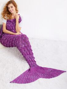 Purple Crocheted Fish Scale Design Mermaid Blanket