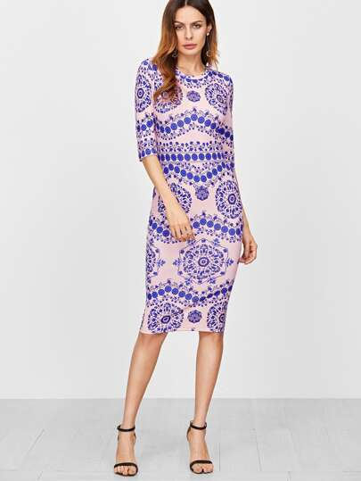 Blue And Pink Porcelain Print Pencil Dress
