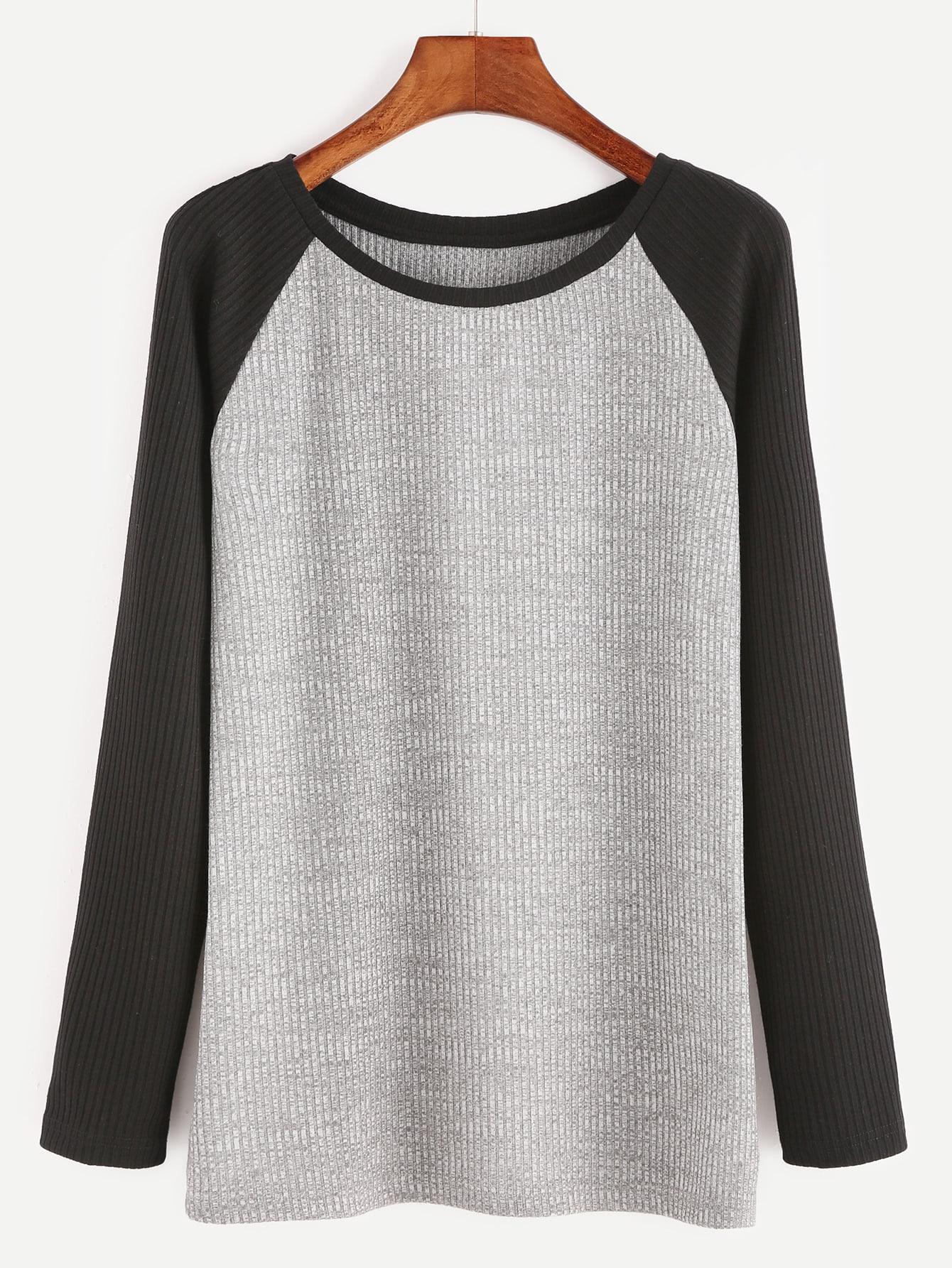 Heather Grey Contrast Raglan Sleeve Ribbed Knit T-shirt tee161111702