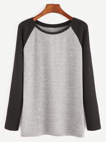 Heather Grey Contrast Raglan Sleeve Ribbed Knit T-shirt