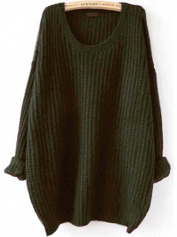 Olive Green Drop Shoulder Textured Sweater, null