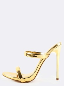 Metallic Double Strap High Heels GOLD