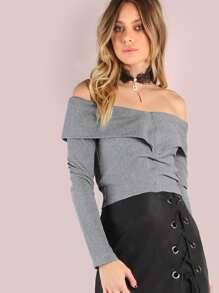 Long Sleeve Bardot Rib Knit Crop Top HEATHER GREY