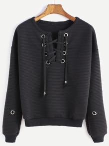 Sweat-shirt à lacet œillet én métal élancé à nervures -noir