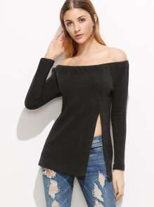 Black Ribbed Knit Slit Front Off The Shoulder T-shirt