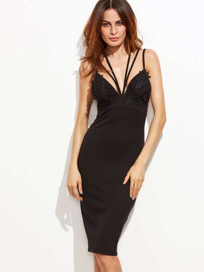 Black Bandage Back Split Applique Pencil Dress